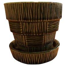 """Vintage McCoy Green  Basket Weave Flower Pot Planter, Drip Saucer 5"""""""
