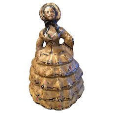 Cast Iron Hubley Colonial Lady / Southern Belle Doorstop Yellow Dress