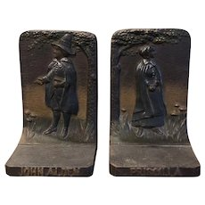Antique Cast Iron John Alden & Priscilla B & H Bradley & Hubbard Bookends
