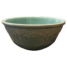 "1930's Homer Laughlin Turquoise ""Orange/Apple Tree"" Pattern 9.5"" Mixing Bowl"