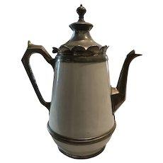 White Graniteware and Pewter Coffee Pot Scalloped Rim