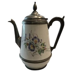 Antique Graniteware Coffee Pot Morning Glory Flowers Pewter Trim & Hinged Spout