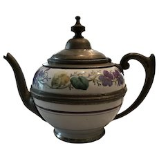 19th Century Graniteware and Pewter Teapot with Flower decoration
