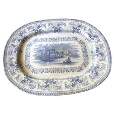 "Florentine China ""GEM"" Blue Staffordshire Transferware Platter 1830s-40s"
