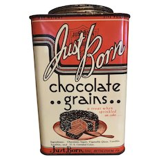 Vintage Just Born Chocolate Grains Tin Chocolate Jimmies Great Graphics