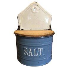 Cornflower Blue & White Enamelware Salt Box Wood Lid