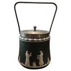 Wedgwood Jasperware Biscuit Jar Dark Green