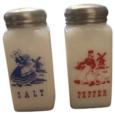 Vintage McKee Tipp City Milk Glass Range Shakers Dutch Boy Girl