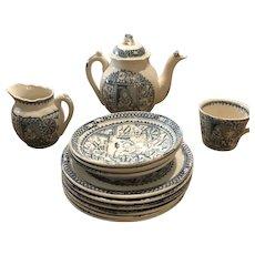 Charles Allerton Staffordshire Little Mae W/ Pets Partial Tea Set Green/Blue Transfer
