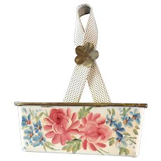 Charming Vintage Hand Painted Tole Wall Pocket Flowers