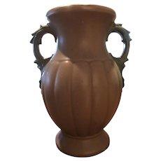 """McCoy Matte Brown & Green Vase 1930's 12"""""""