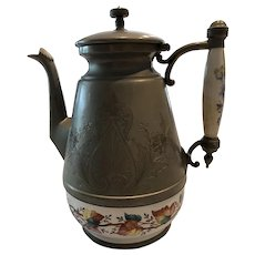19th C Graniteware & Pewter Coffee Pot Embossed Pewter Autumn Leaves