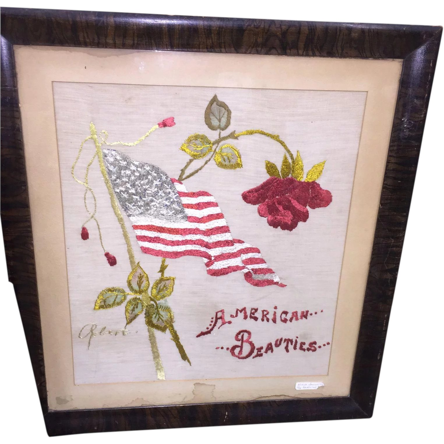 Vintage Framed Embroidery Needlework American Flag Roses Hand ...