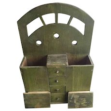 Primitive Early 20th C Apple Green Wall Hanging Spice Box Great Paint