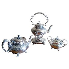 19th Century John Turton English Silverplate Tea Set with Spirit Kettle