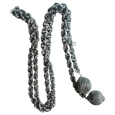 Vintage 1970s Silvertone Multi Link Chain Belt with Dangling Spheres