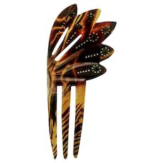 Vintage Art Deco Fan Design Celluloid Hair Comb with Green Crystals