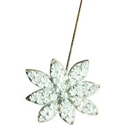 Antique Edwardian Long Rhinestone Flower Hat Pin
