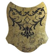 Mid Century Gold Foil with Black Velvet Leaf Design Wall Decor