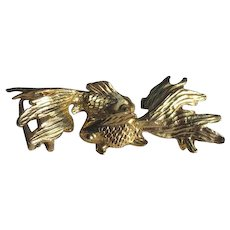 Vintage 1974 Mimi di N Fighting Fish Figural Belt Buckle