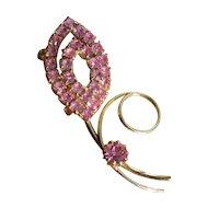 Vintage Pink Rhinestone Swirl Brooch Pin