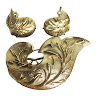 Vintage Sarah Coventry Golden Brocade Brooch and Earrings Set