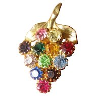Vintage Rhinestone Bunch of Grapes Brooch