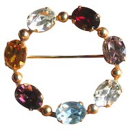 Mid Century Multi Color Rhinestone Circle Brooch
