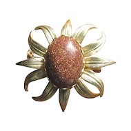 Vintage Goldstone Leaf Pin