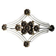 Vintage Art Deco Brass, Enamel and Marcasite Brooch