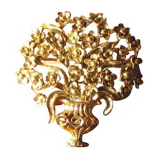 Vintage Oscar de la Renta Overflowing Flower Basket Urn Brooch