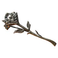 Vintage Single Long Stem Rose Pin in Sterling Silver and Marcasite