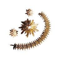Vintage 1970s Avon Starflower Demi Parure with Bracelet, Brooch and Earrings