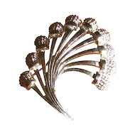 Vintage 1960's Monet Silvertone Large Spray Brooch