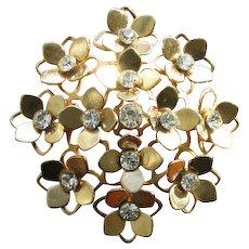 Vintage Domed Rhinestone Openwork Flower Brooch