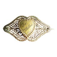 Vintage 1930's Filigree Mother Pin