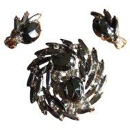 Vintage 1960s Juliana Black AB Rhinestone Swirl Brooch and Earrings Set