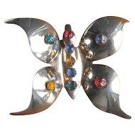 Vintage 1960's Rhinestone Butterfly Brooch