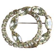 Vintage 1960's Pale Green Rhinestone Interlocking Circle Brooch