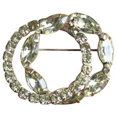 Vintage 1960's Pale Green Rhinestone Interlocking Circle Brooch