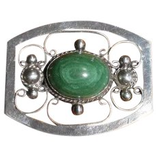 Early Mexico Sterling Silver and Malachite Openwork Brooch