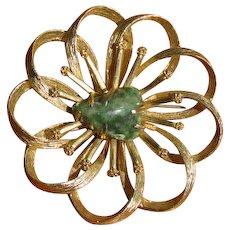 Vintage Green Aventurine and Goldtone Flower Swirl Brooch