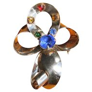 Vintage Multi Color Rhinestone Bow Brooch
