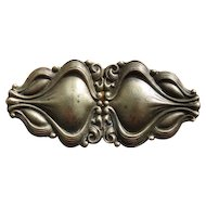 Vintage 1930's Chased Brass Brooch - Art Nouveau Style