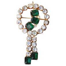 Vintage 1940's Emerald Green & Clear Rhinestone Circle Brooch with Pendant Loop