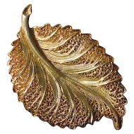 Vintage Filigree Sterling Silver Leaf Brooch - Topazio, Gold Washed