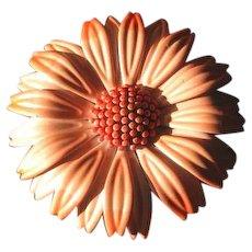 Vintage Mod 1960's Peach Flower Brooch