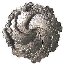 Vintage 1940's Coro Pegasus Silvertone Swirl Flower Brooch