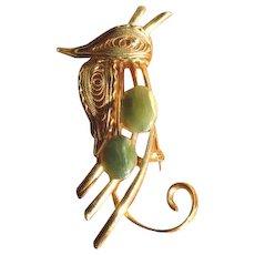 Vintage Goldtone Filigree and Jade Perched Bird Pin