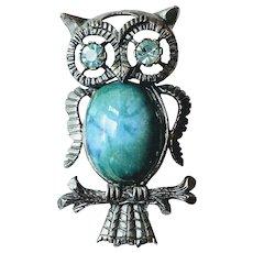 Vintage Jelly Belly Blue Eyed Figural Owl Brooch